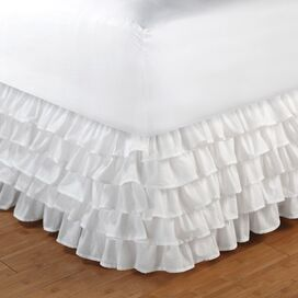 "Multi-Ruffle Bedskirt 15"" Drop in White"
