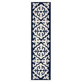 "Asmae 2'6"" x 10' Wool Runner I in Navy Blue"