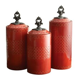 3-Piece Rhone Canister Set in Red