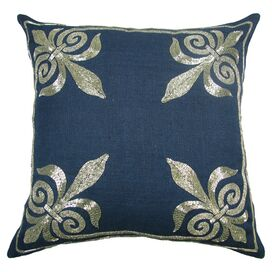 Fleur De Lis Pillow in Navy