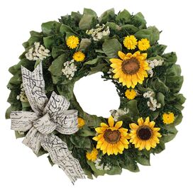 Faux Sunflowers Bright Harvest Wreath