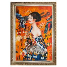 Signora con Ventaglio by Klimt Framed Canvas Reproduction