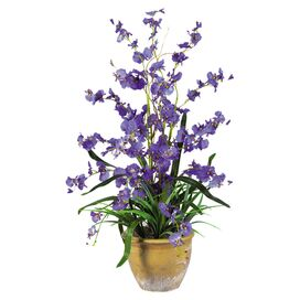 Faux Potted Dancing Lady Orchid in Purple