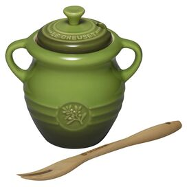 Le Creuset Olive Jar with Wood Fork