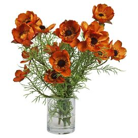 Faux Poppy Arrangement in Orange