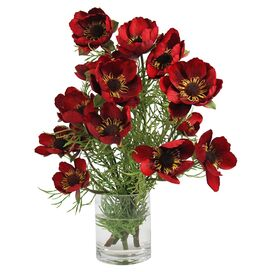 Faux Poppy Arrangement in Red