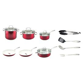 Kevin Dundon 14-Piece Cookware Set in Red