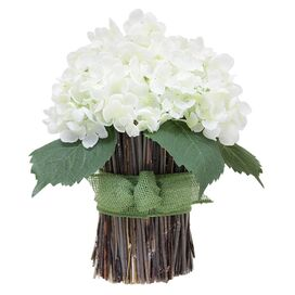 Faux Hydrangea Sheaf in White
