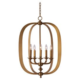Harper 5-Light Pendant in Natural Aged Brass