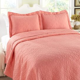 Cotton Quilt Set in Coral