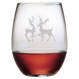 Reindeer Stemless Wine Glass