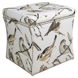 Oiseaux Storage Ottoman in Charcoal
