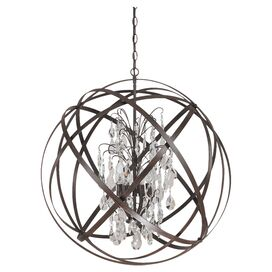 Axis 6-Light Crystal Pendant in Russet
