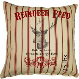 Reindeer Feed Pillow in Red