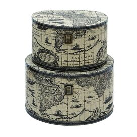 2 Piece World Map Hat Box Set