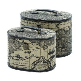 2 Piece World Map Travel Box Set