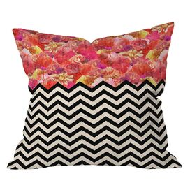 Bianca Green Chevron Flora Pillow