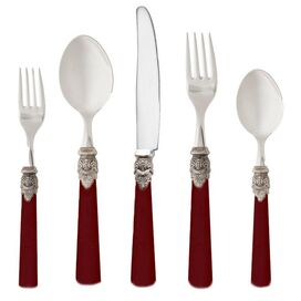 5 Piece Rochelle Flatware Set in Bordeaux