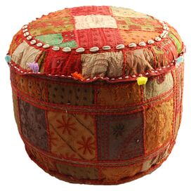 Small Bohemian Pouf in Red