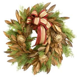 Faux Bay Leaf & Cedar Wreath