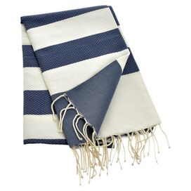 Ankara Fouta Towel in Dark Blue & White