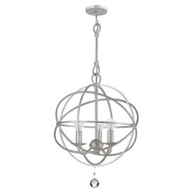 Small Solaris Crystal Chandelier in Olde Silver