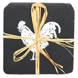 4 Piece Rooster Slate Coaster Set