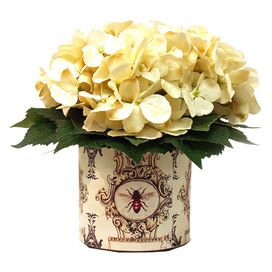 Faux Hydrangea Arrangement in Bee Pot I