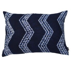 Mustique Pillow I in Indigo & Ivory
