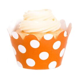 Small Polka Dot Cupcake Wrapper in Orange