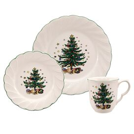 12 Piece Happy Holidays Dinnerware Set