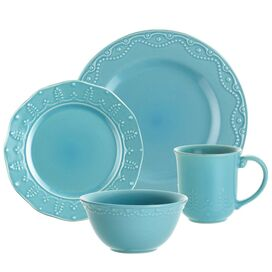 Paula Deen 16 Piece Whitaker Dinnerware Set in Aqua
