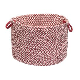 Houndstooth Indoor/Outdoor Basket in Sangria