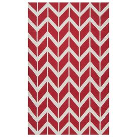 Chevron Rug in Venetian Red