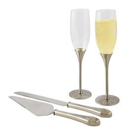 4 Piece Paris Flute & Cake Server Set in Silver