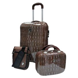 3 Piece Weekender Luggage Set in Crocodile