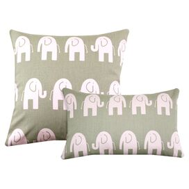 Elephants Tan Pillow Set in Pink