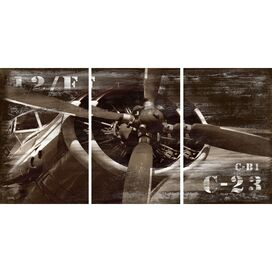 3 Piece Vintage Airplane Canvas Wall Art