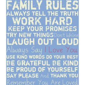 Family Rules Canvas Giclee Print in Blue & Cream