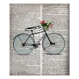Newsprint Biccle Silhouette Canvas Print