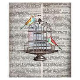 Newsprint Birdcage Silhouette Canvas Print
