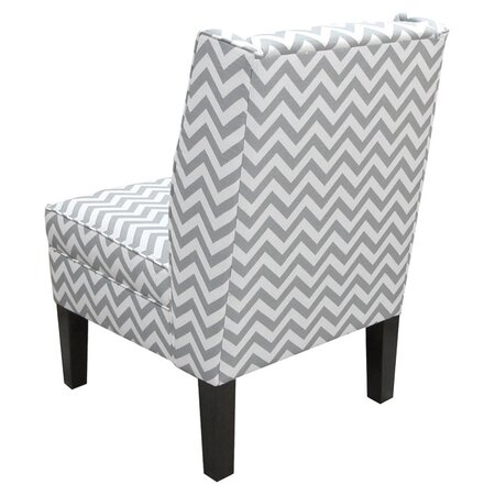 Chevron Wingback Chair in Gray
