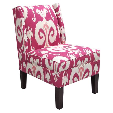 Ikat Wingback Chair in Raspberry