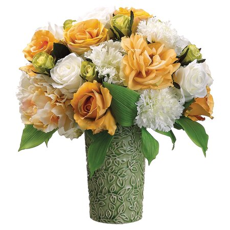 Peony and Rose Arrangement in Yellow