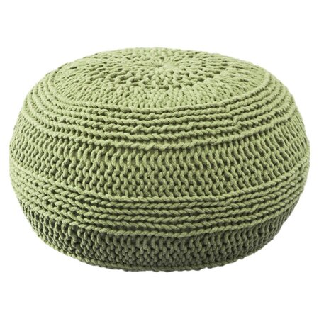 Cable Knit Pouf in Lime