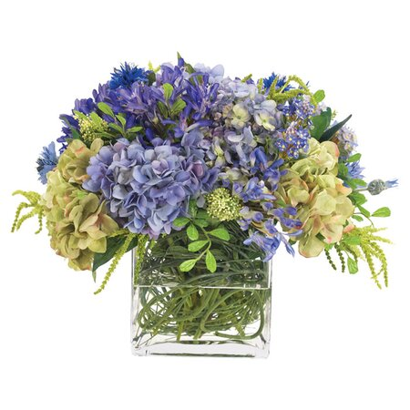 Natural Decorations Faux Agapanthus Hydrangea Arrangement