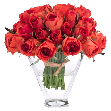 Natural Decorations Inc. Silk Rose Orange Arrangement II