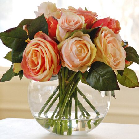 Faux Rose Arrangement in Bubble Vase I