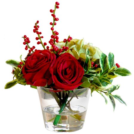 Faux Red Rose & Holly Arrangement