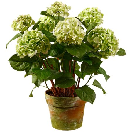 Faux Potted Hydrangea II in Green